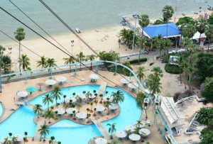 Pattaya water park viewed from tower top