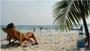 Farang lady enjoying retirement on a Thai beach