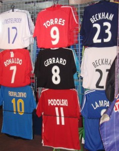 Fake football shirts on Pattaya market