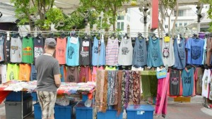 T-shirt stall on local market