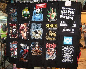 T-shirt stall on Pattaya market