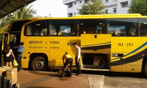 Yellow bus from Pattaya to Mukdahan