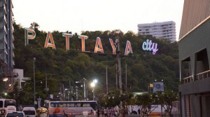 Pattaya city sign above Bali Hai pier