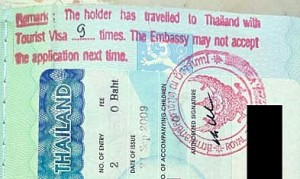 Thai tourist visa red warning stamp