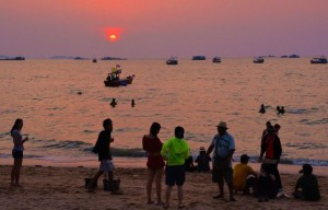Sunset on Pattaya beach