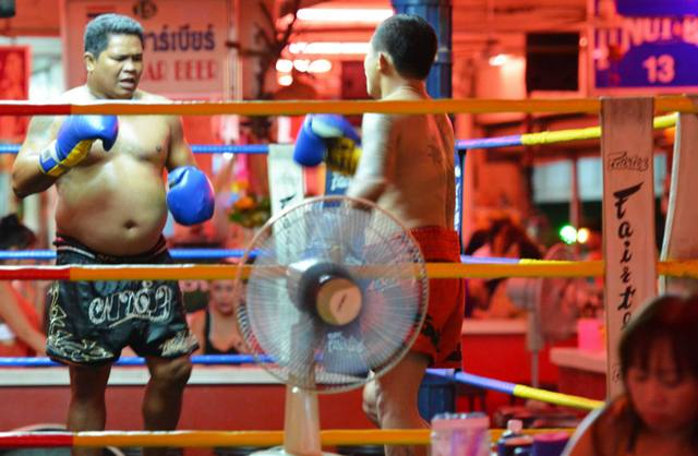 Muay Thai show fight in Pattaya bar complex