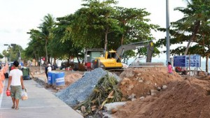 Jomtien beach promenade under construction