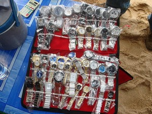 Copy watches sold on the beach
