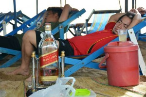 Drunk Thai man on Jomtien beach