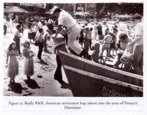 US soldiers arriving on Pattaya beach during the Vietnam War era