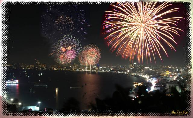 Firework show over Pattaya bay