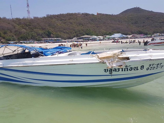 8 Chinese tourists injured in speedboat crash off Koh Larn