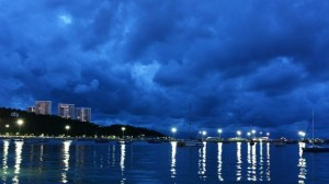 Pattaya bay on a cloudy night