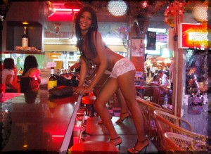 Ladyboy posing in Walking Street bar