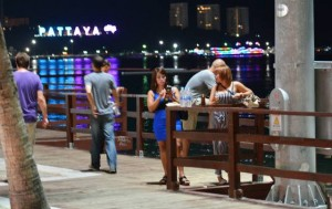 Pattaya beach road promenade by night