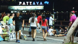 Pattaya beach road promenade after dark